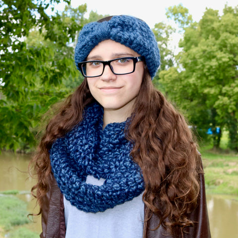 Two Seaside Babes 2019 Fall Collection - Denim Twist Infinity Scarf & Denim Blue Knotted Bow Winter Headband