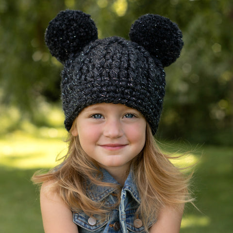 Two Seaside Babes 2019 Fall Collection - Charcoal Sparkle Double Pom Beanie