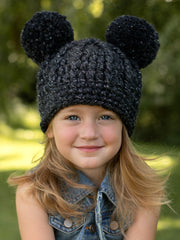 Charcoal sparkle double pom winter beanie by Two Seaside Babes