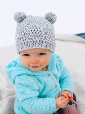 Pale gray mini pom pom hat by Two Seaside Babes