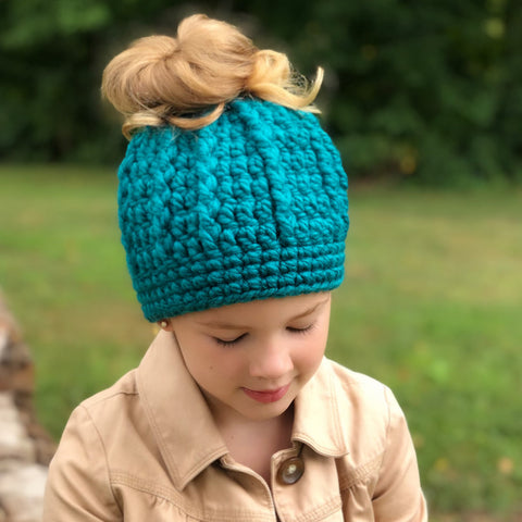 Two Seaside Babes 2019 Fall Collection - Teal Messy Bun Ponytail Beanie