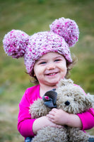1T to 2T Pink & Brown Pom Pom Hat