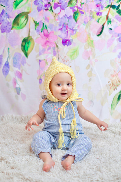 Baby yellow pixie elf hat