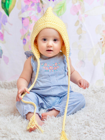 Baby yellow pixie elf hat by Two Seaside Babes