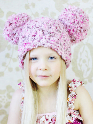 4T to Preteen Pink & Brown Pom Pom Hat by Two Seaside Babes