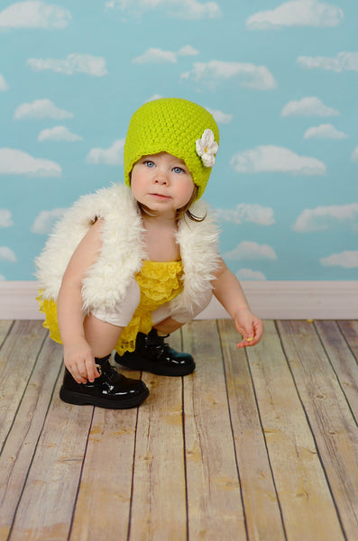 Lime green flapper beanie hat | 32 flower colors available