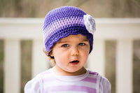 2T to 4T Purple, Grape, Lavender, & White Striped Flapper Beanie
