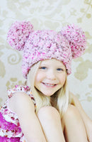 4T to Preteen Pink & Brown Pom Pom Hat