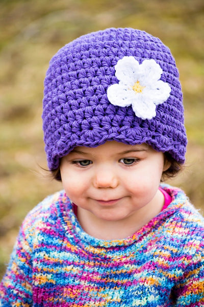Purple flapper beanie hat | 34 flower colors available
