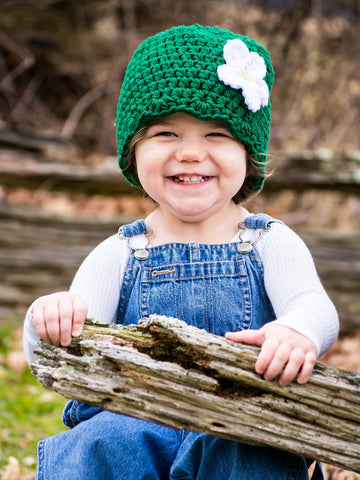 Emerald green flapper beanie hat | 34 flower colors available