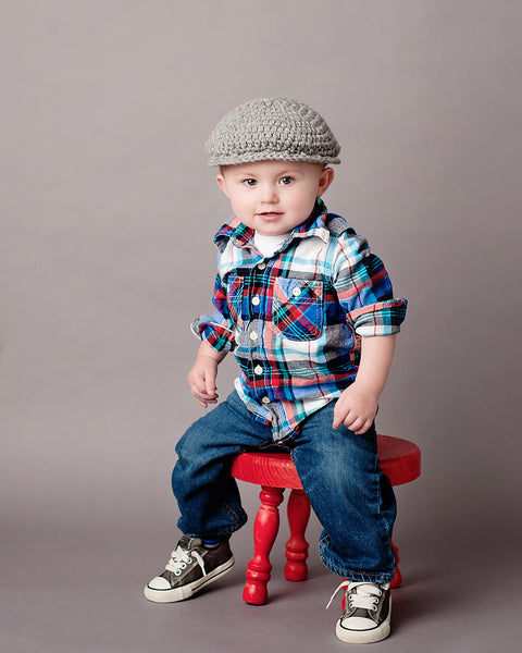 2T to 4T Gray | Irish wool Donegal newsboy hat, flat cap, golf hat | newborn, baby, toddler, boy, & men's sizes