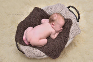 Linen & Dark Brown Wood | newborn photo prop layering baby blanket, basket stuffer, bucket filler
