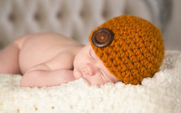 Butterscotch button beanie baby hat
