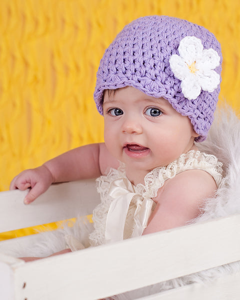 Lavender flapper beanie hat | 32 flower colors available