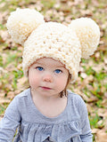2T to 4T Ivory Cream Pom Pom Hat by Two Seaside Babes