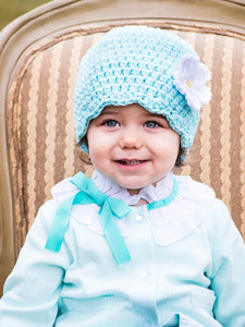 Robin's egg blue flapper beanie hat | 34 flower colors available