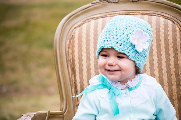 Robin's egg blue flapper beanie hat | 32 flower colors available by Two Seaside Babes
