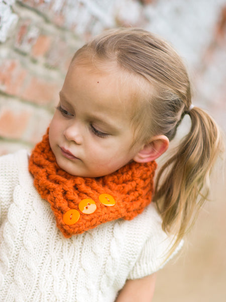 1T to 4T Toddler Orange Pumpkin Button Scarf by Two Seaside Babes
