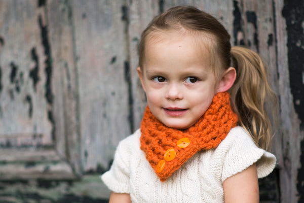 1T to 4T Toddler Orange Pumpkin Button Scarf