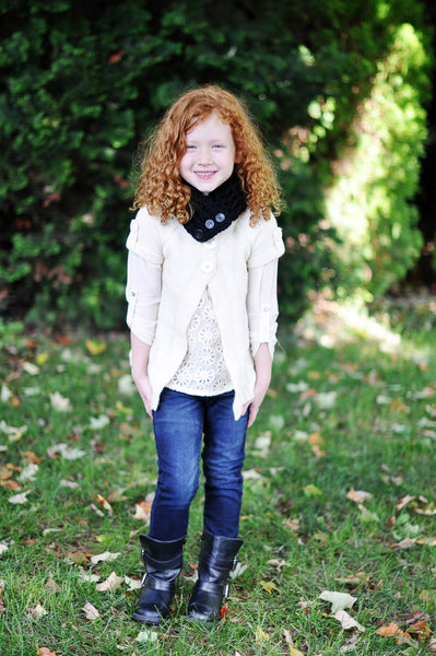 1T to 4T Toddler Black Button Scarf