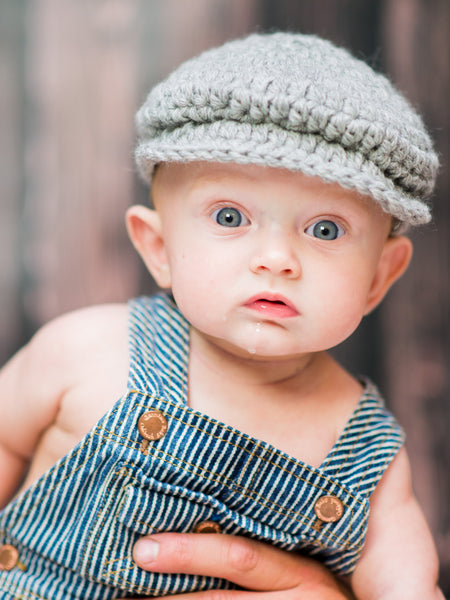 3 to 6 Month Gray | Irish wool Donegal newsboy hat, flat cap, golf hat | newborn, baby, toddler, boy, & men's sizes
