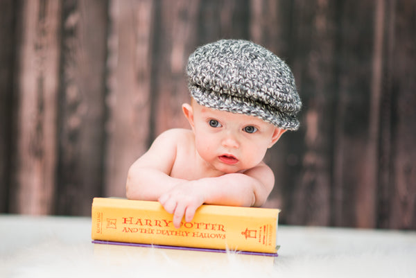 3 to 6 Month Charcoal Gray & Cream | Irish wool Donegal newsboy hat, flat cap, golf hat | newborn, baby, toddler, boy, & men's sizes