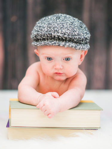 3 to 6 Month Charcoal Gray & Cream Irish Donegal Newsboy Hat by Two Seaside Babes