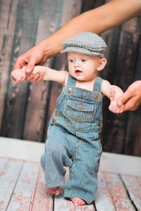 3 to 6 Month Gray Irish Donegal Newsboy Hat