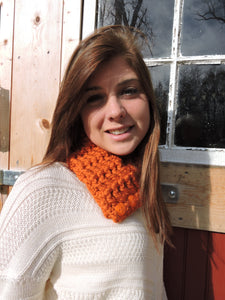 Adult Orange Pumpkin Button Scarf