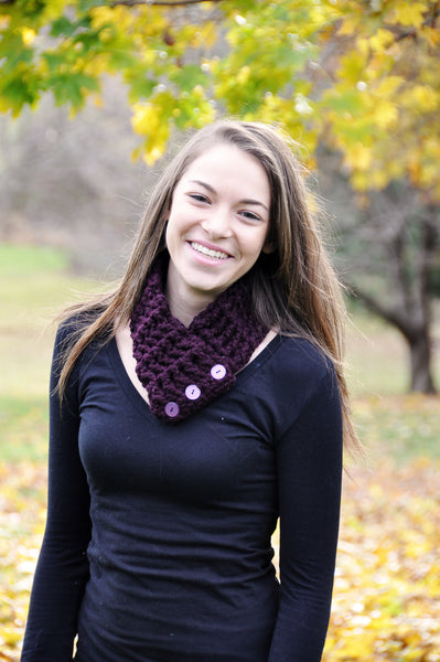 Adult Purple Eggplant Button Scarf
