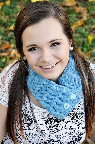 Adult Cornflower Blue Button Scarf