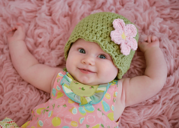 Country green flapper beanie hat | 32 flower colors available