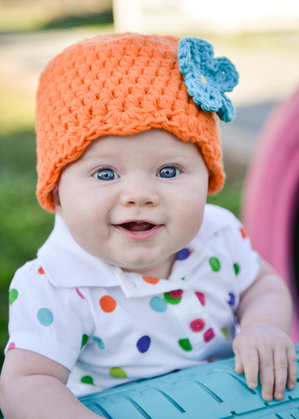 Orange flapper beanie hat | 32 flower colors available by Two Seaside Babes