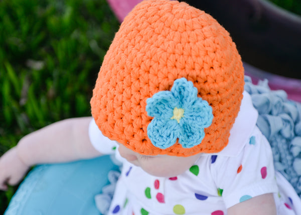 Orange flapper beanie hat | 34 flower colors available