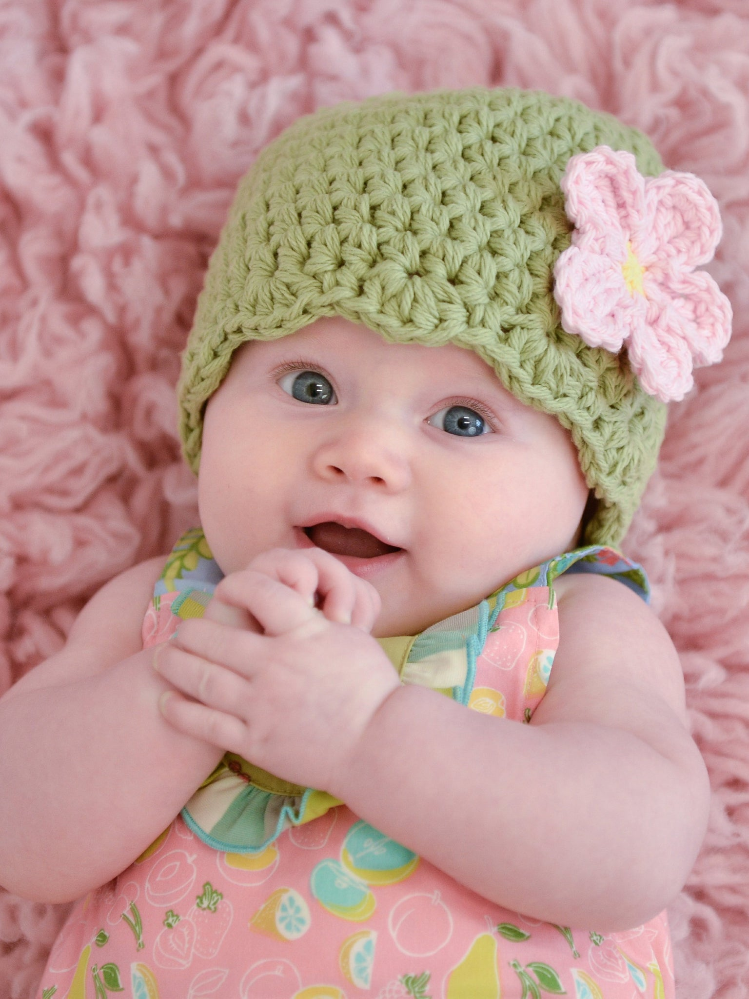Country green flapper beanie hat | 32 flower colors available by Two Seaside Babes