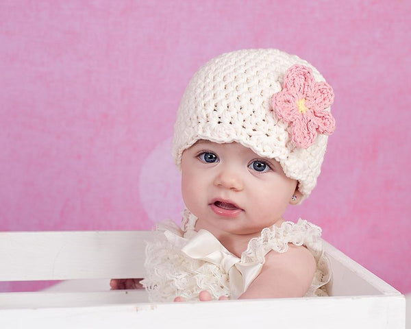 Cream flapper beanie hat | 32 flower colors available