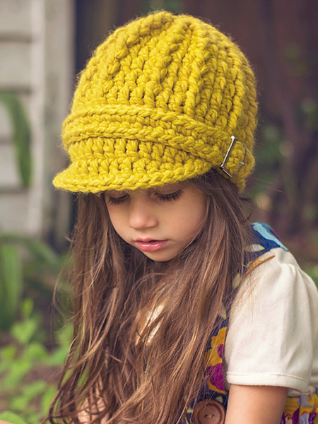 Yellow citron buckle beanie winter hat by Two Seaside Babes