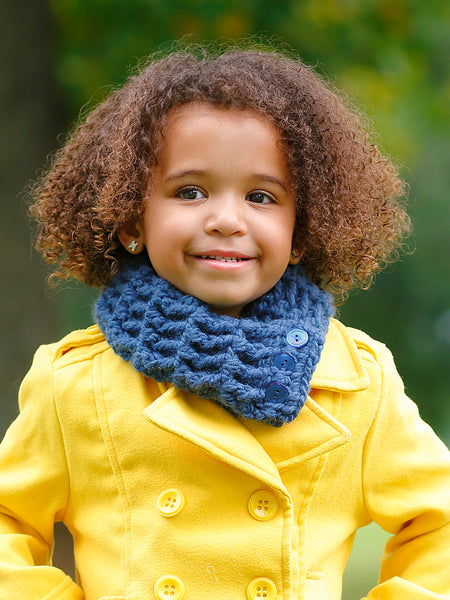 1T to 4T Toddler Denim Blue Button Scarf by Two Seaside Babes