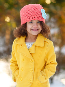 Tangerine flapper beanie hat | 34 flower colors available