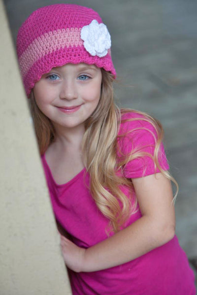 2T to 4T Hot Pink, Pink, Light Pink, & White Striped Flapper Beanie