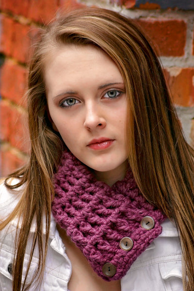 Adult Purple Plum Button Scarf
