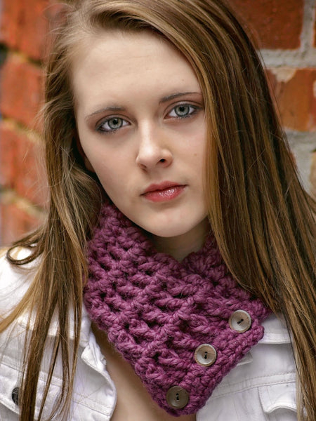 39 colors button scarf by Two Seaside Babes ~ Purple Plum