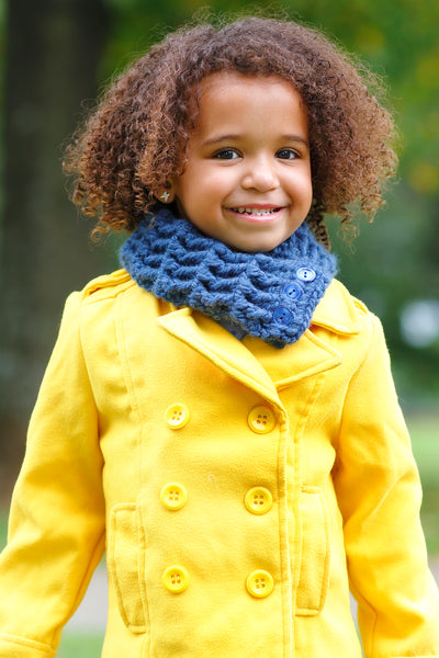 1T to 4T Toddler Denim Blue Button Scarf