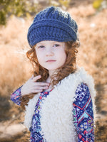 4T to Preteen Kids Denim Blue Buckle Beanie by Two Seaside Babes