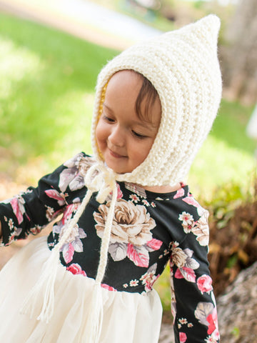 Ivory cream pixie elf hat by Two Seaside Babes