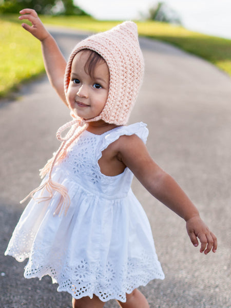 Peach pixie elf hat by Two Seaside Babes