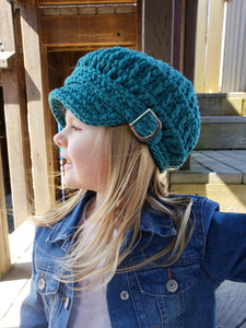 Teal buckle newsboy hat by Two Seaside Babes