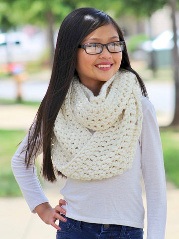 Cream sparkle infinity cowl winter scarf by Two Seaside Babes