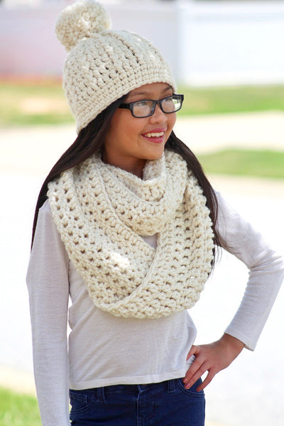 Cream sparkle pom beanie winter hat
