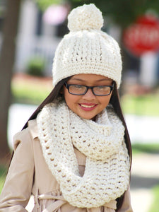 Cream sparkle pom beanie winter hat by Two Seaside Babes